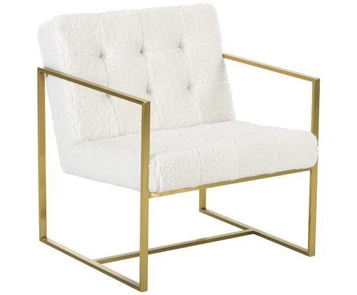 Poltrona in teddy Manhattan in bianco crema, Rivestimento: bianco crema Struttura: dorato lucido