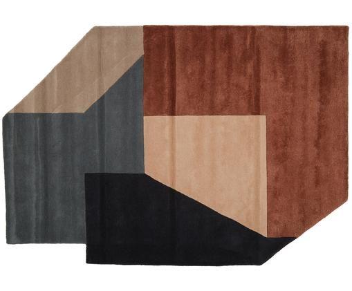 Alfombra artesanal de lana Alton, Gris antracita, gris, pardo, beige, rosa palo