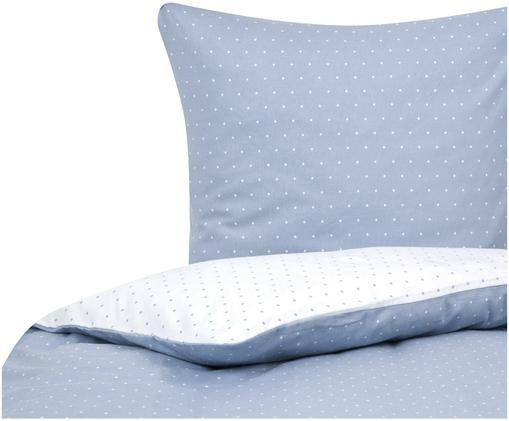 Gepunktete Flanell-Wendebettwäsche Betty, Hellblau, Weiß