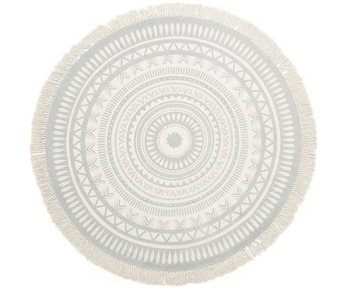 Handgewebter Teppich Benji, mit Fransen, Hellgrau, Beige