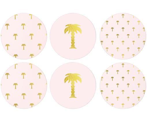 Komplet podstawek Paumes, 6 elem., Blady różowy, odcienie złotego