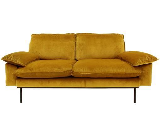 Samt-Sofa Retro (2-Sitzer), Ocker