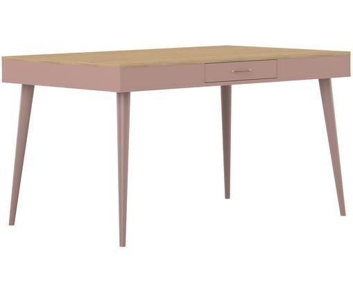 Esstisch Horizon im Skandi-Design mit Schublade, Eichenholz, Altrosa