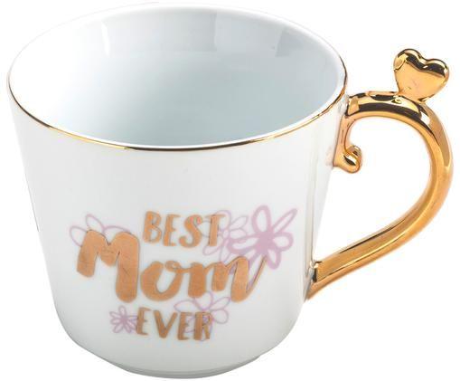 Tasse Best Mom Ever, Weiß, Goldfarben, Pink