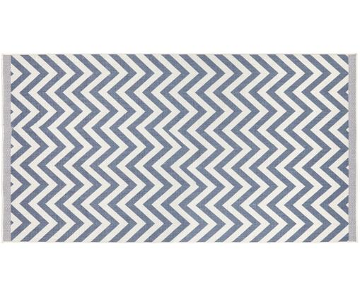 Alfombra reversible de interior y exterior Palma, Azul, crema