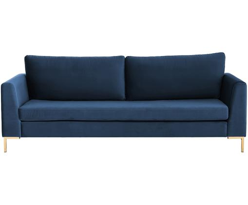 Samt-Sofa Luna (3-Sitzer), Blau