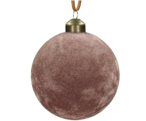Weihnachtskugeln Velvet, 4 Stück, Rosa