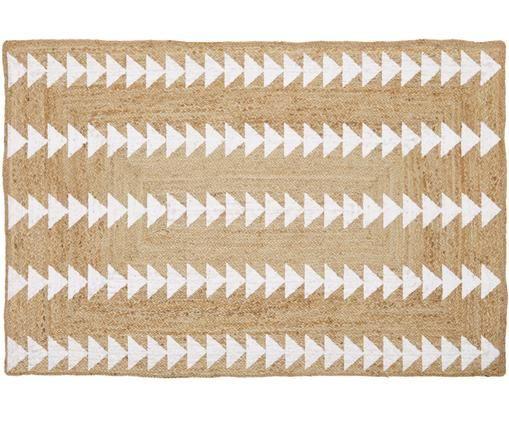 Ręcznie wykonany dywan z juty Shakia, Beżowy, biały