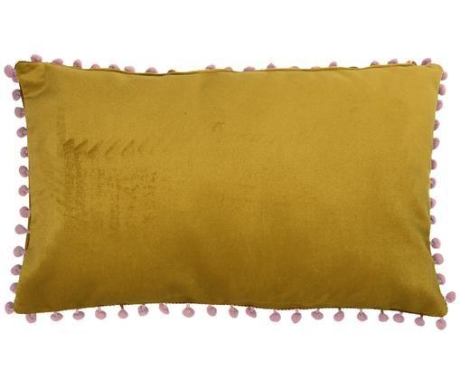 Samt-Kissenhülle Avoriaz in Gelb mit Bommeln, Gelb, Pink