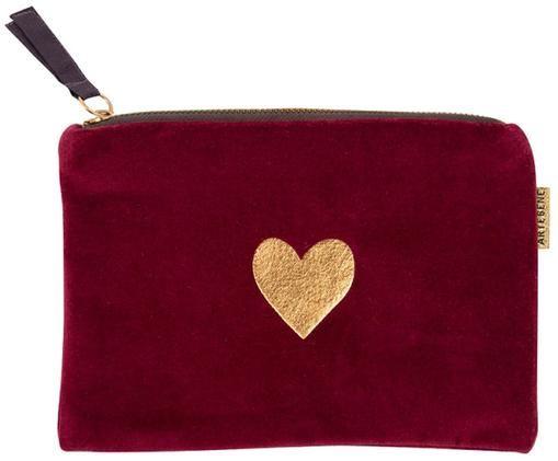 Borsa cosmetica in velluto Heart, Rosso, dorato
