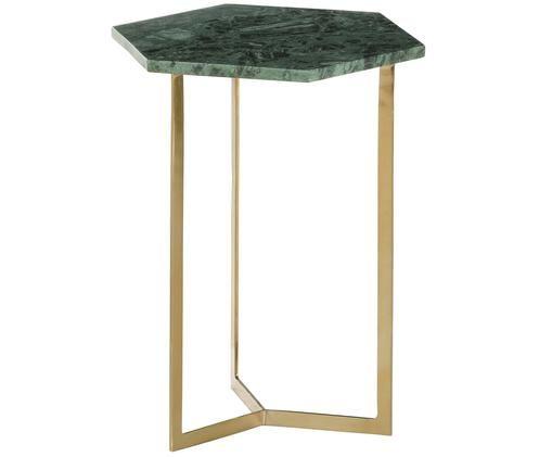 Mesa auxiliar de mármol Vince, Tablero: mármol verde Estructura: dorado brillante