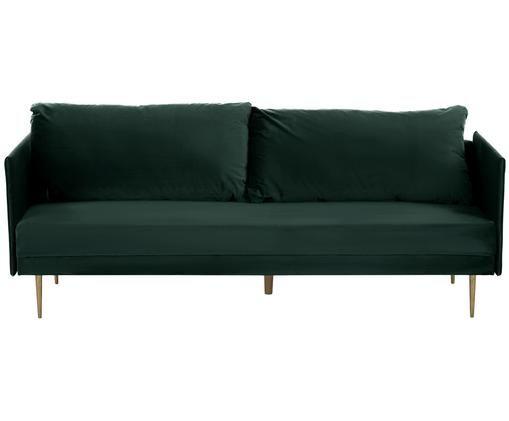 Divano letto in velluto Lauren, Rivestimento: verde scuro Piedini: dorato lucido