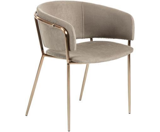 Krzesło tapicerowane z aksamitu Runnie, Taupe, odcienie miedzi