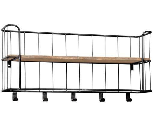 Wandkapstok Giro, Frame: chroomkleurig. Plank: mangohoutkleurig