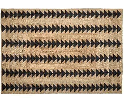 Ręcznie wykonany dywan z juty Shakia, Beżowy, czarny