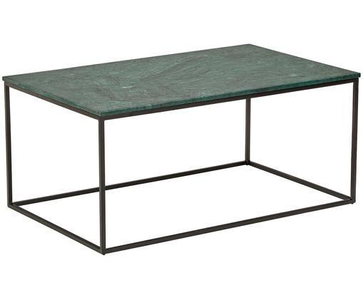 Marmor-Couchtisch Alys, Tischplatte: Grüner Marmor Gestell: Schwarz, matt