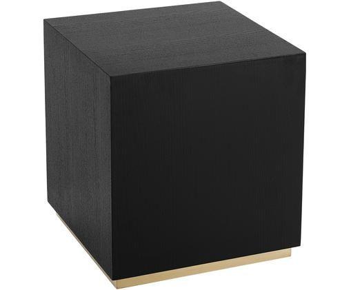 Tavolino Clarice, Corpo: legno di quercia, nero verniciato Base: dorato lucido