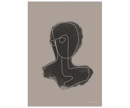 Poster Head, Beige, nero, bianco