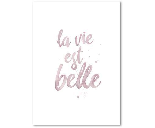 Póster La Vie Est Belle, Rosa, blanco