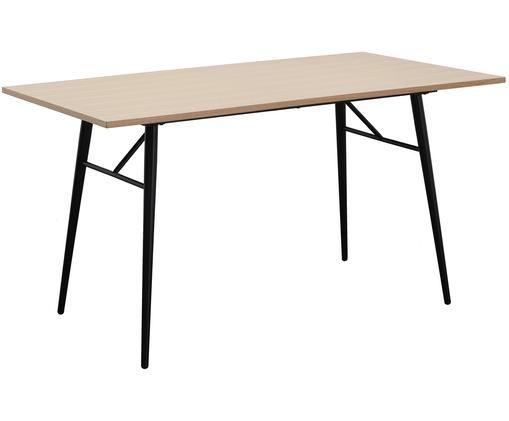 Tavolo da pranzo Jette, Impiallacciato rovere, nero
