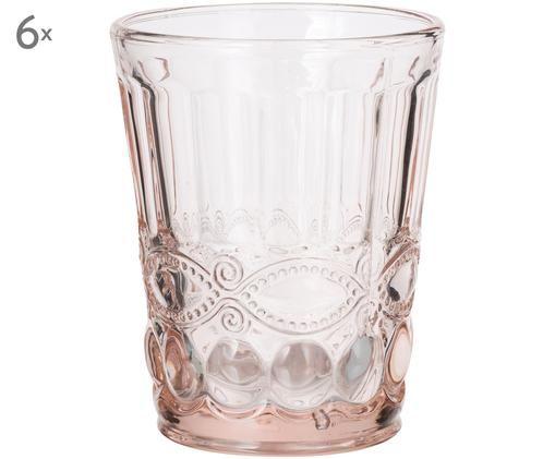 Szklanka do wody Solange, 6 szt., Transparentny, rożowy