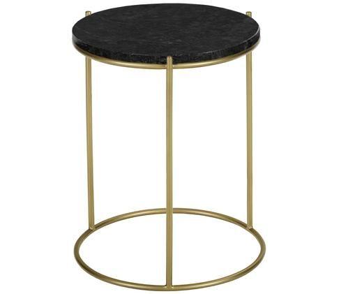 Runder Marmor-Beistelltisch Ella, Tischplatte: Schwarzer Marmor Gestell: Goldfarben, matt