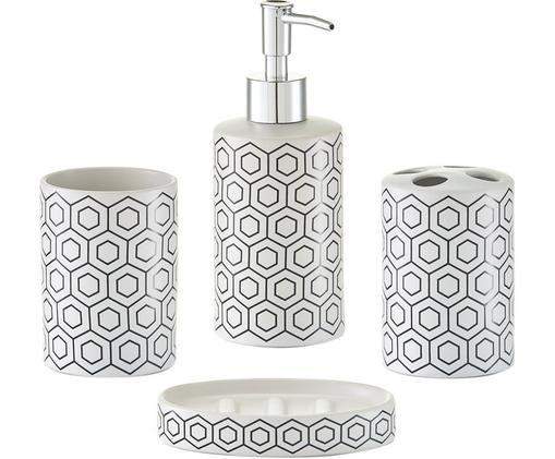 Komplet akcesoriów łazienkowych Graphic, 4 elem., Czarny, biały