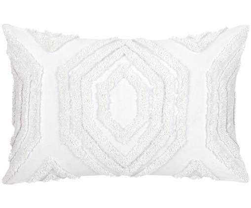 Kissenhülle Faye mit getuftetem Muster, Weiß