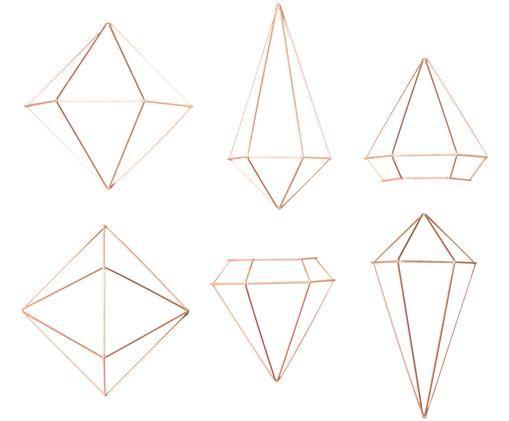 Komplet dekoracji ściennych Prisma, 6 elem., Odcienie miedzi