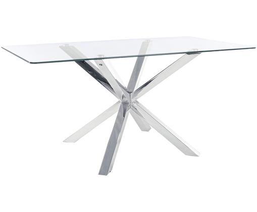 Eettafel May met glazen tafelblad, Tafelblad: transparant. Poten: edelstaalkleurig