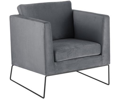 Klassischer Samt-Sessel Milo in Grau, Bezug: Grau  Beine: Schwarz