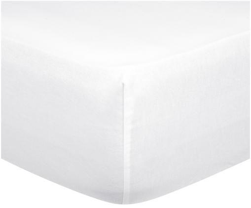 Einfarbige Spannbettlaken Biba in Weiß, Flanell, Weiß