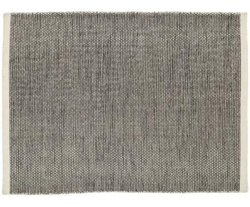 Alfombra artesanal de lana Asko, Negro, crema