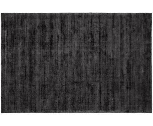 Ręcznie tkany dywan z wiskozy Jane, Antracytowoczarny