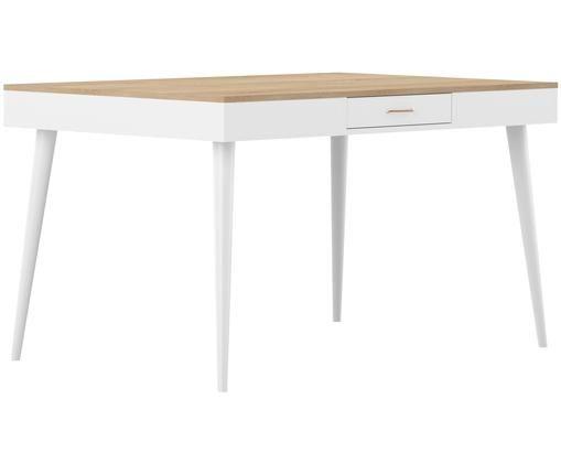 Eettafel Horizon, Eikenhoutkleurig, wit