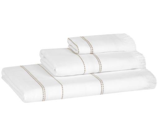 Set asciugamani Edda, 3 pz., Bianco, taupe