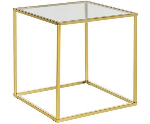 Bijzettafel Maya met glazen tafelblad, Tafelblad: glas, transparant. Frame: glanzend goudkleurig