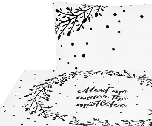 Pościel z flaneli Mistletoe, Biały, czarny