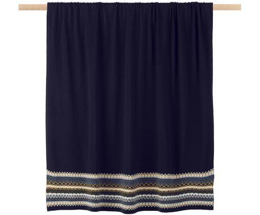 Plaid en laine Trig, Bleu foncé, blanc, tons jaunes, bleu ciel