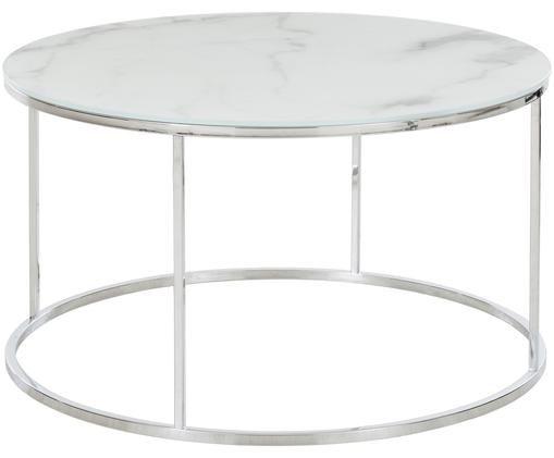 Table basse Athena avec plateau en verre marbré, Blanc-gris marbré, couleur argentée
