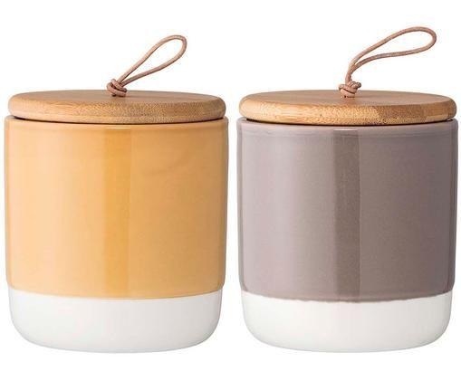 Set contenitori Starni, 2 pz., Giallo, grigio, marrone