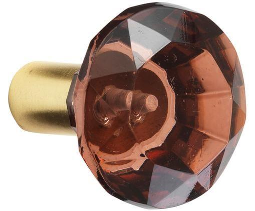 Gancio da parete Sofie Diamond, Fissaggio: ottone Fronte: rosso, trasparente