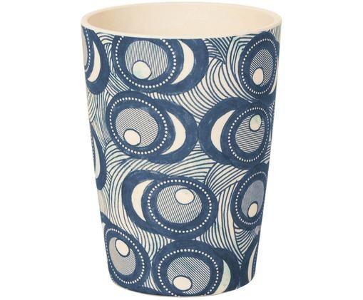 Kubek z drewna bambusowego Fish Eye, Niebieski, biały