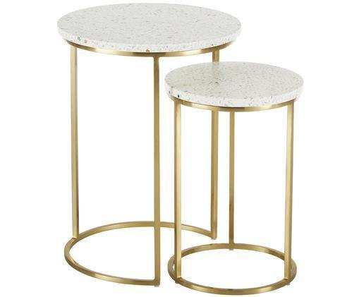 Set de mesas auxiliares Paloma, 2pzas., Tablero: terrazo blanco Estructura: dorado brillante