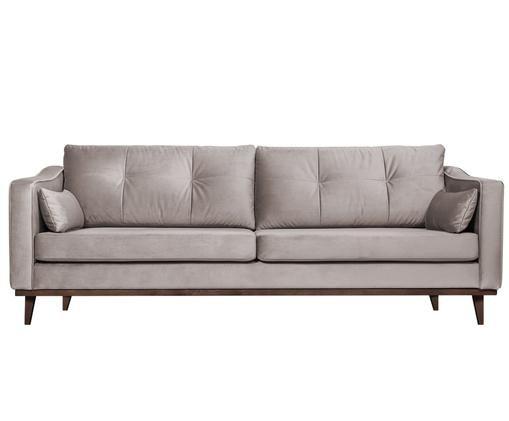 Sofa z aksamitu Alva (3-osobowa), Tapicerka: taupe Nogi: drewno bukowe, bejcowane na ciemno