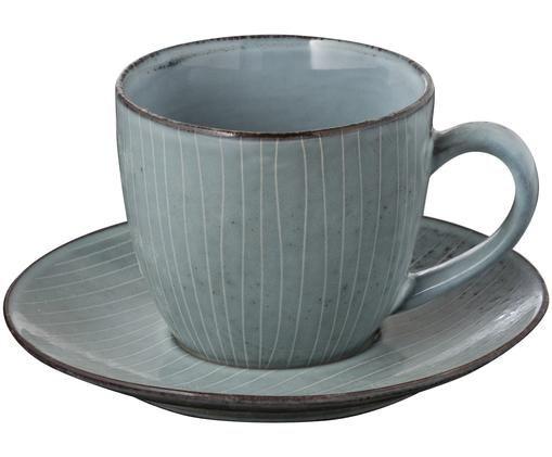 Handgefertigte Tasse mit Untertasse Nordic Sea, Grau- und Blautöne