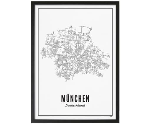 Stampa digitale incorniciata München, Immagine: nero, bianco Cornice: nero opaco
