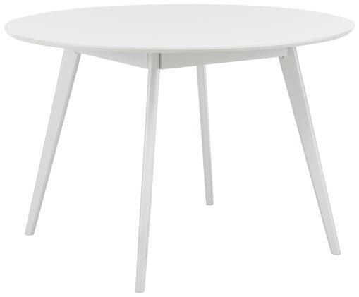 Tavolo da pranzo rotondo in legno Yumi, Bianco