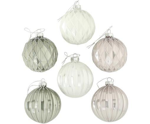 Weihnachtskugel-Set Kubus, 6-tlg., Weiß, Hellrosa, Hellgrün