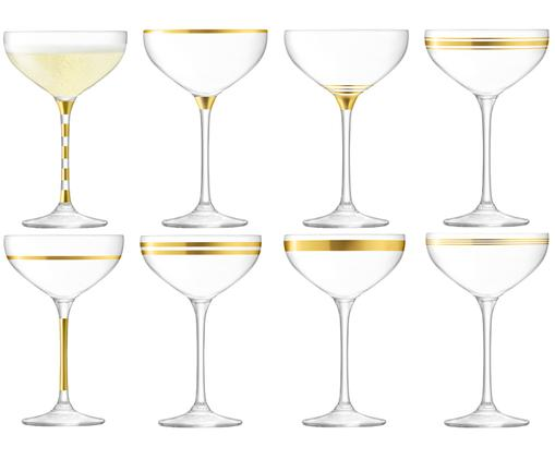 Champagnerschalen-Set Deco mit Goldverzierungen, 8er-Set, Transparent, Goldfarben